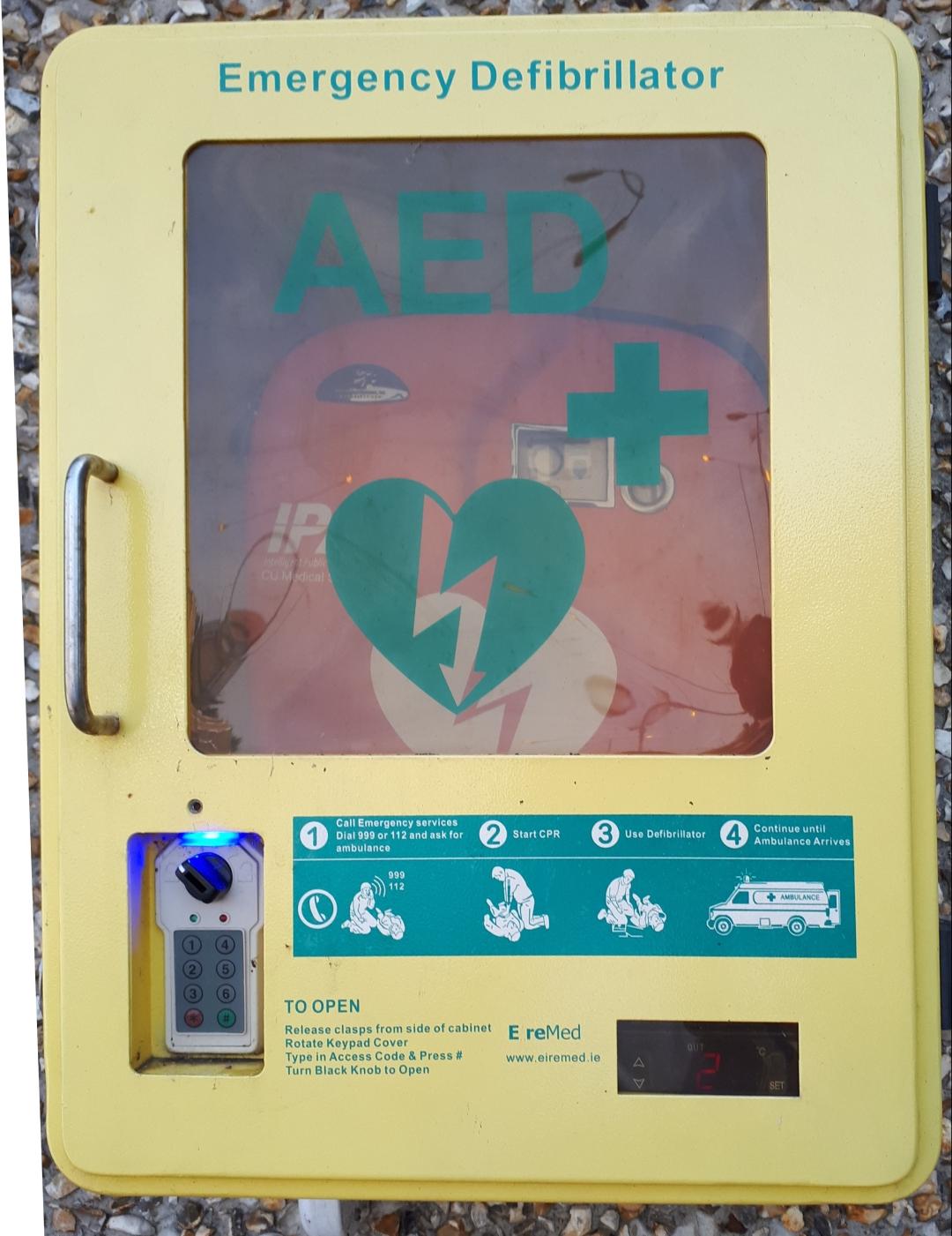 Defibrillator in Goff's Oak Village instructions